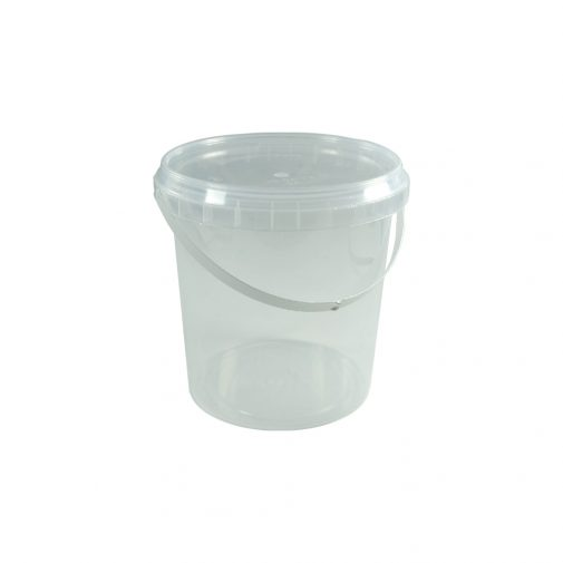 דלי פלסטיק 1 ליטר שקוף + מכסה