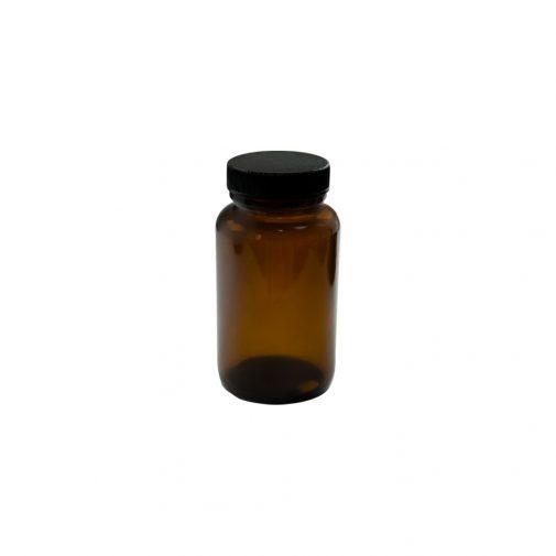 """צנצנת זכוכית 150 מ""""ל תוספי מזון חום"""
